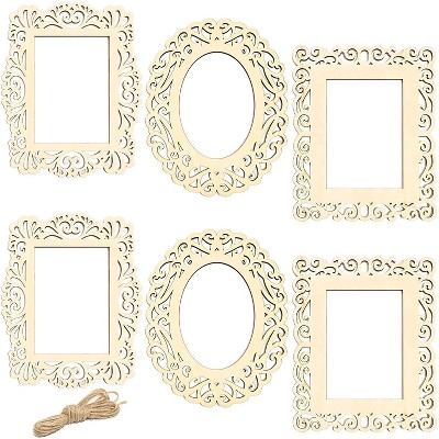 """Bright Creations 6-Pack Unfinished Wood Frames Cutout with Jute String for DIY Craft Home 8.5 x 10.5"""""""
