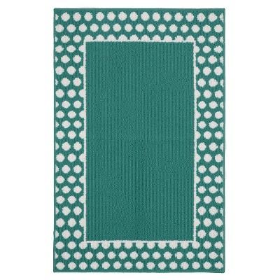 Garland Polka Dot Frame Accent Rug - Teal/White (2'6 x3'10 )