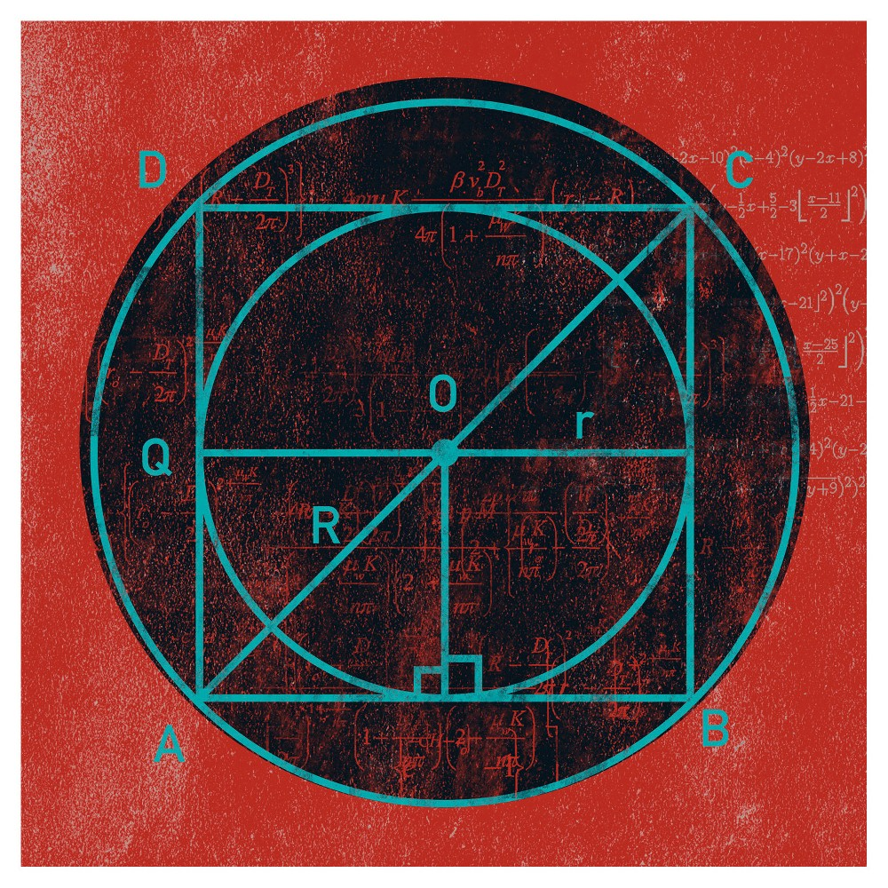 Image of Geometry Study Black on Red Unframed Wall Canvas Art - (24X24)