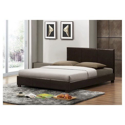 . Pless Modern Bed Dark Brown  Queen    Baxton Studio