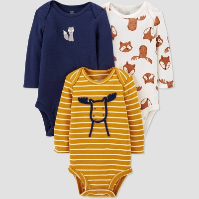 Baby Boys' 3pk Woodland Long Sleeve Bodysuit - Just One You® made by carter's Off-White/Gold/Blue 3M