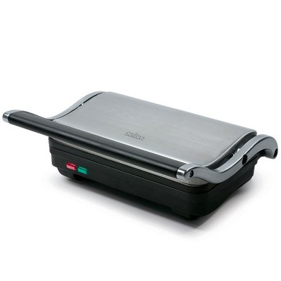 Salton SG1263 Panini Grill Countertop Non Stick Electric Sandwich Press with Dual Indicator Lights and 70 Square Inch Cook Plate, Stainless Steel