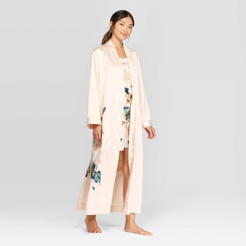 Women's Floral Print Satin Robe - Stars Above™ Cream  - image 1 of 2