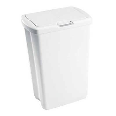 Rubbermaid 13.25 Gallon Rectangular Spring-Top Lid Kitchen Wastebasket Trash Can for Tall Trashbags, White