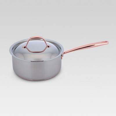 Stainless Steel with Copper Accent Sauce Pot with Lid 3qt - Threshold™