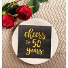 """Blue Panda 50-Pack """"Cheers to 50 Years"""" Disposable Paper Napkins 5"""" Black Birthday Anniversary Party Supplies - image 3 of 3"""