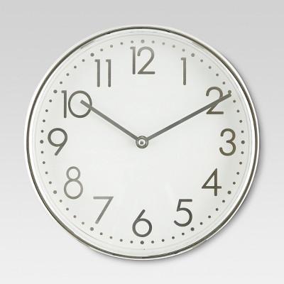 10  Round Wall Clock White/Chrome - Threshold™