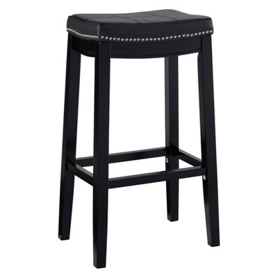 Claridge Leather Saddle 32  Barstool - Black