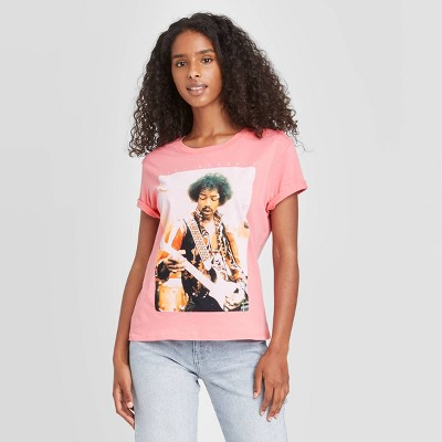 Women's Jimi Hendrix Short Sleeve Graphic T-Shirt - Pink