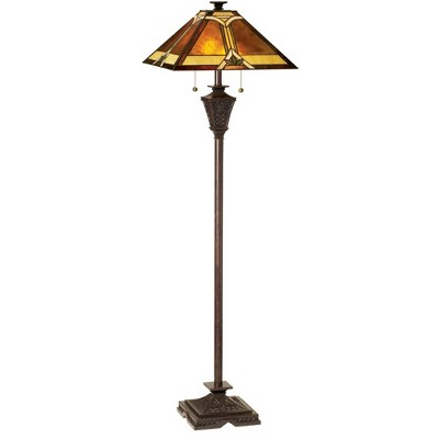 Robert Louis Tiffany Mission Floor Lamp French Bronze Tiffany Style Glass with Natural Mica Shade for Living Room Reading Bedroom