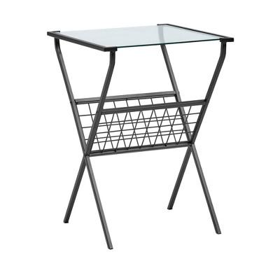 Modern Metal & Glass Side Table with Magazine Holder Black - Saracina Home