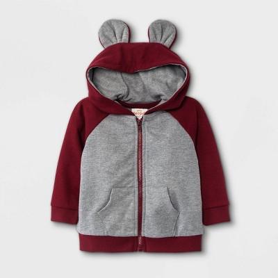 Baby Boys' Jersey Lined Hooded Jacket - Cat & Jack™ Maroon 0-3M