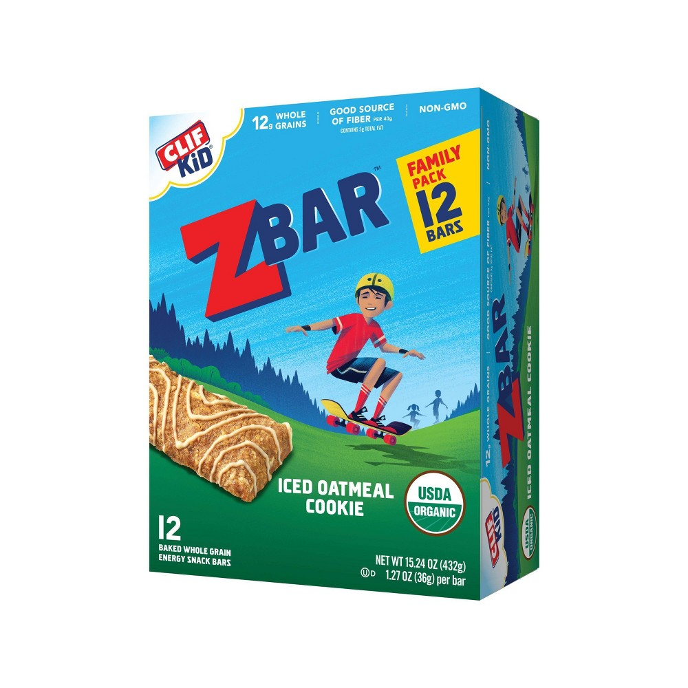 CLIF Kid ZBAR Organic Iced Oatmeal Cookie Snack Bars- 12ct