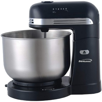 Brentwood SM-1162BK 5 Speed Standing Electric Kitchen Mixer with 3 Quart Stainless Steel Mixing Bowl, Dough Hooks, and Mixer Beaters, Black