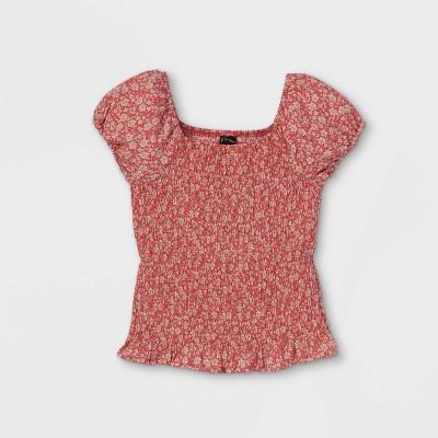 Girls' Floral Puff Short Sleeve Top - art class™