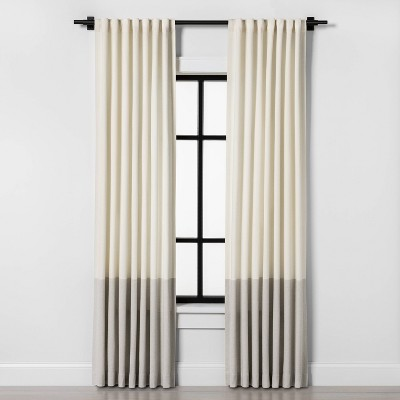 "95"" Colorblock Curtain Panel Sour Cream/Gray - Hearth & Hand™ with Magnolia"