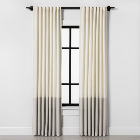 Colorblock Curtain Panel Sour Cream / Gray - Hearth & Hand™ with Magnolia - image 1 of 4