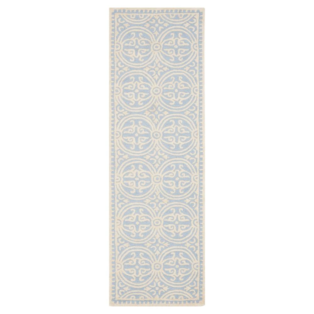 2'6X6' Geometric Runner Light Blue/Ivory - Safavieh