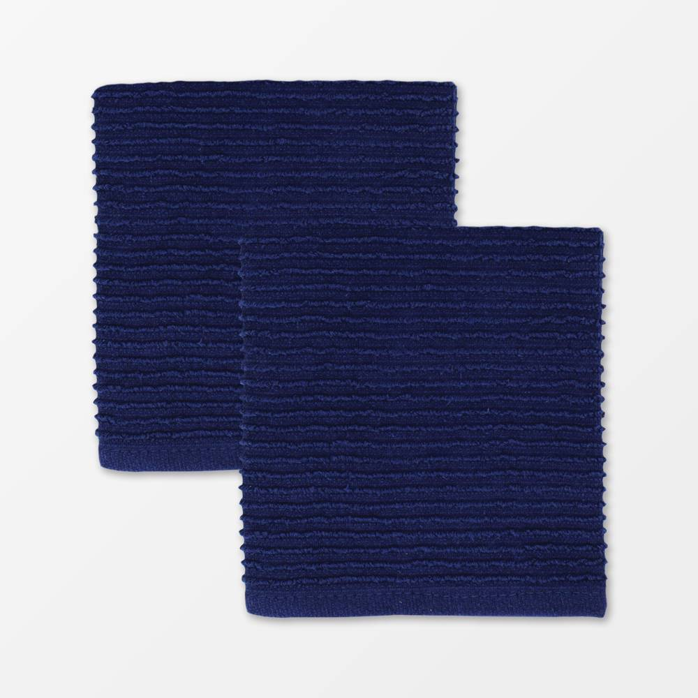 "Image of ""12""""x12"""" 2pk Cotton Ridged Dish Cloth Navy - MU kitchen, Blue"""