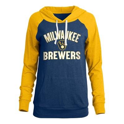 MLB Milwaukee Brewers Women's Bi-blend Lightweight Hoodie