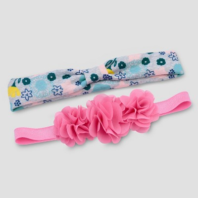 Baby Girls' 2pk Flower Headwrap - Just One You® made by carter's Pink