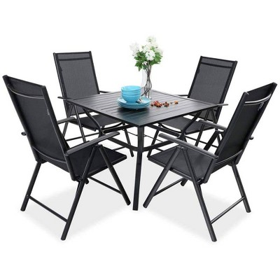 5pc Patio Set with Square Table & Reclining Sling Chairs with Armrests - Captiva Designs