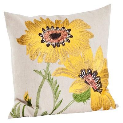 """18""""x18"""" Embroidered Flower Throw Pillow Yellow - Saro Lifestyle"""
