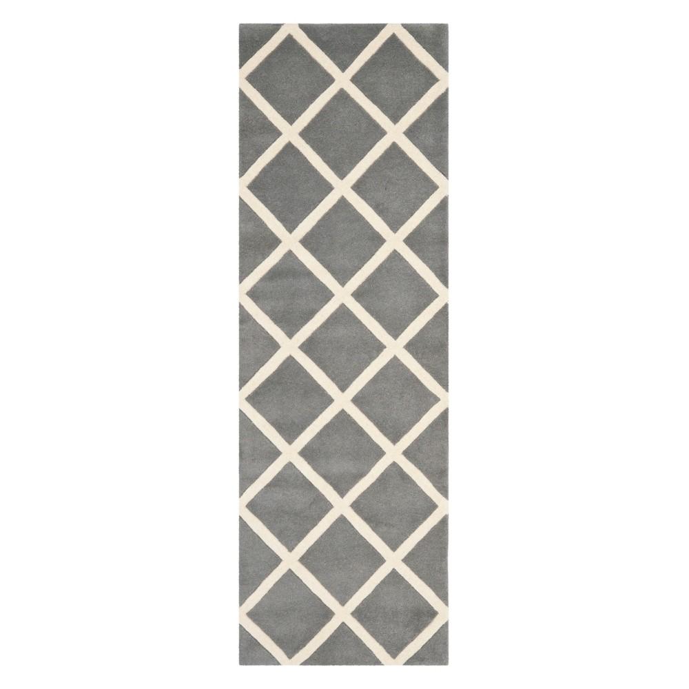 2'3X9' Geometric Tufted Runner Dark Gray/Ivory - Safavieh