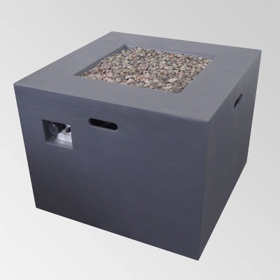Aidan Outdoor Square Lightweight Concrete Gas Burning Fire Pit - Dark Gray - Christopher Knight Home