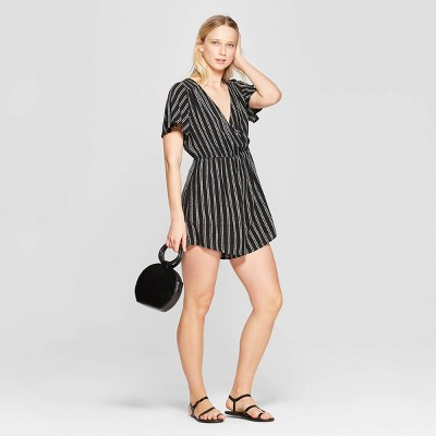 4078c4c07fd Women s Striped Short Sleeve V-Neck Wrap Romper - Xhilaration™ Black White