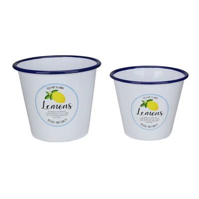 "Raz Imports Set of 2 Fresh from the Garden Lemon Metal Buckets 6.75"""