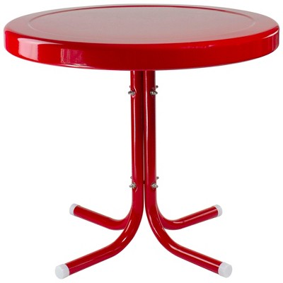 """Northlight 22"""" Outdoor Retro Tulip Side Table, Red"""