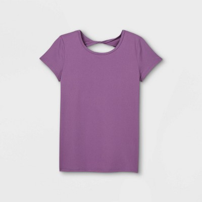 Girls' Short Sleeve Keyhole Back Gym T-Shirt - All in Motion™