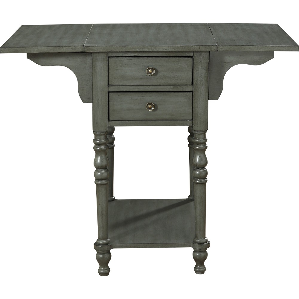 Franklin Drop Leaf 2 Drawer Accent Table Gray - Treasure Trove