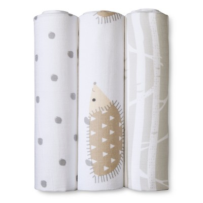 Muslin Swaddle Blankets Hedgehogs 3pk - Cloud Island™ Gray