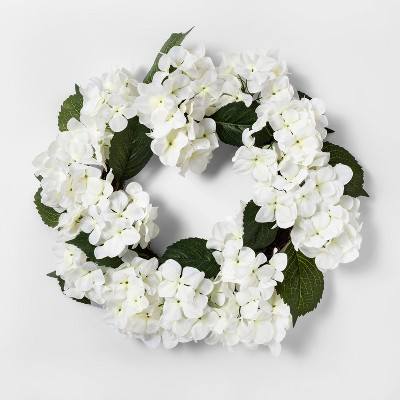 19  Artificial Hydrangea Wreath White/Green - Threshold™