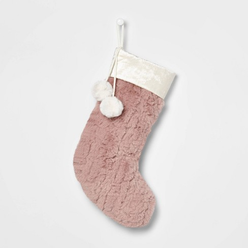 Plush Faux Fur Christmas Stocking with Velvet Cuff Blush - Wondershop™ - image 1 of 3