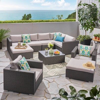 Santa Rosa 10pc Wicker Patio Sectional Sofa Set - Gray/Silver - Christopher Knight Home