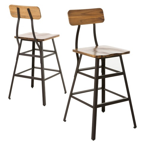 Swell 28 Rugar Wood Counter Stool Natural Set Of 2 Christopher Knight Home Uwap Interior Chair Design Uwaporg