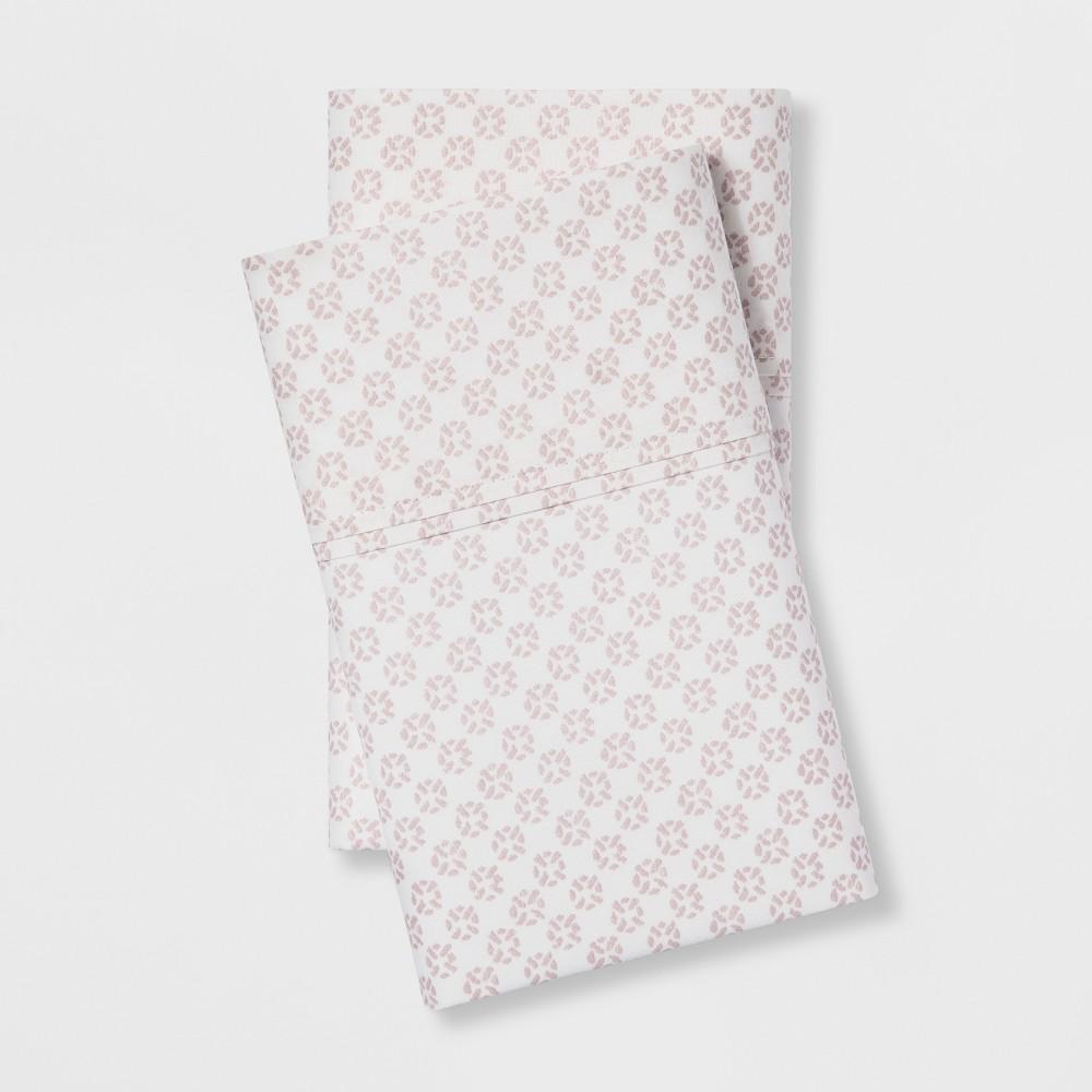 Image of Standard Organic Cotton Printed Pillowcase Set White/Pink - Threshold