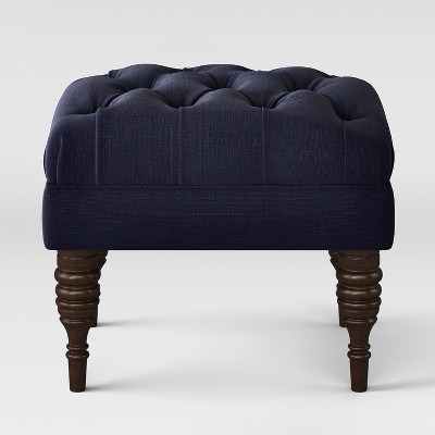Small Tufted Ottoman with Turned Legs - Navy - Threshold™