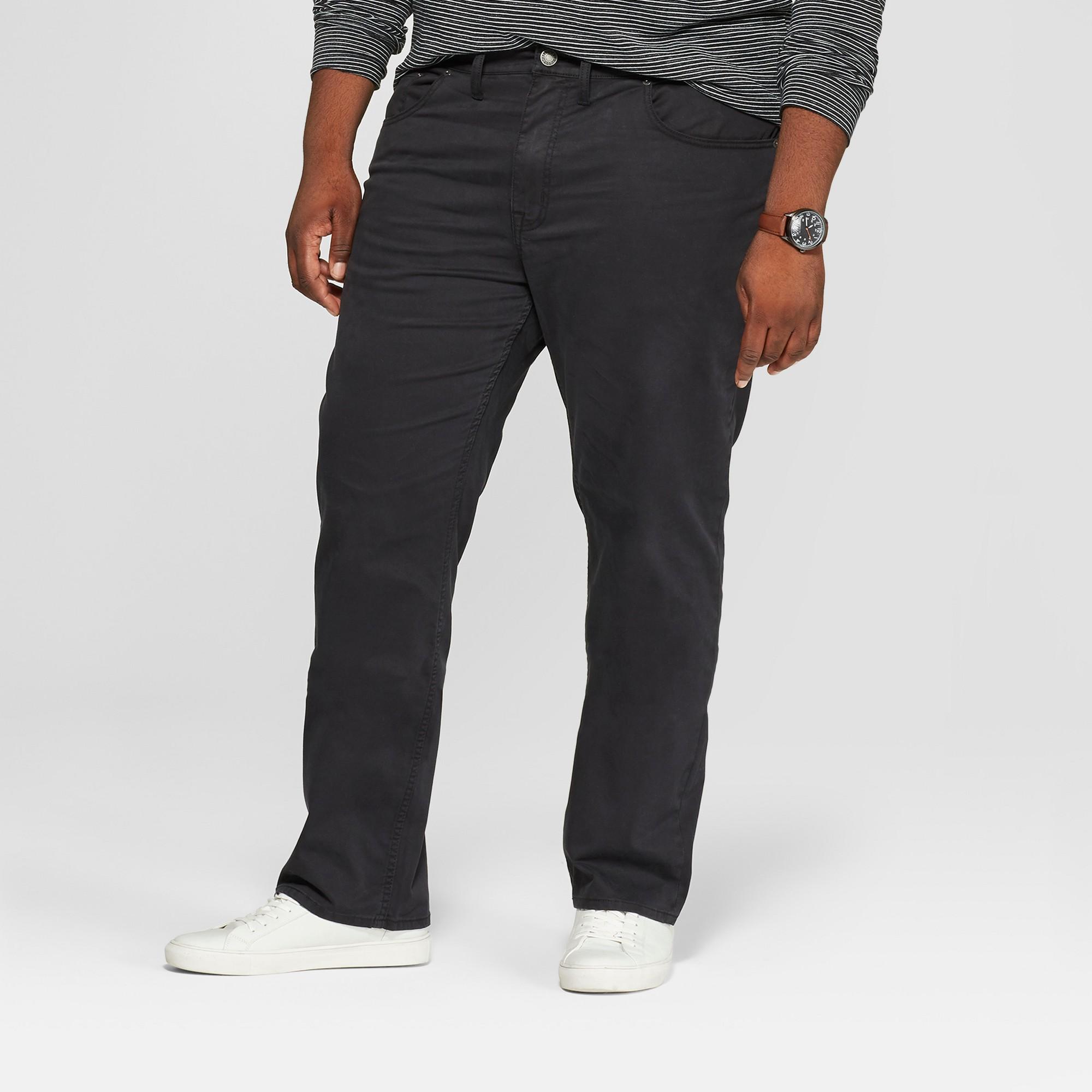 Men's Tall Regular Straight Fit Chino Pants - Goodfellow & Co Black 32x36
