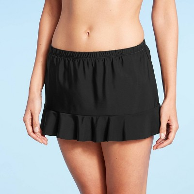 Women's Ruffle Swim Skirt - Aqua Green® Black