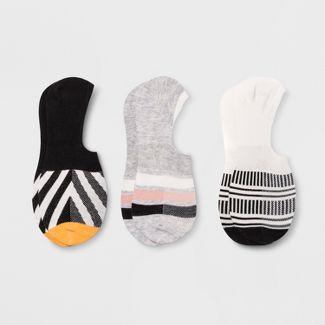 Pair of Thieves Mens Striped 3pk No Show Socks - Black/White 8-12