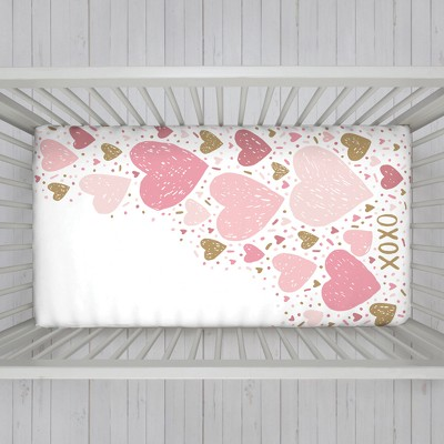 NoJo Fitted Crib Sheet - Hearts - Pink