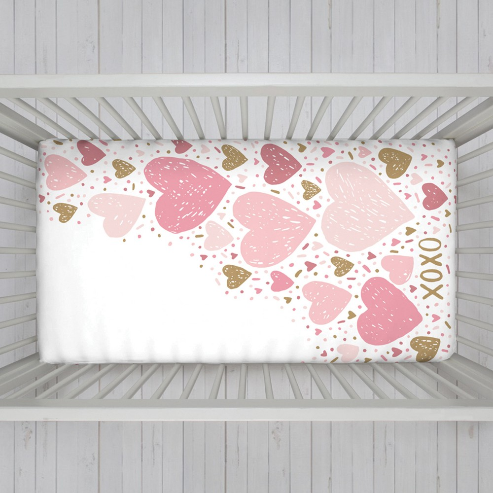 Image of NoJo Fitted Crib Sheet - Hearts - Pink