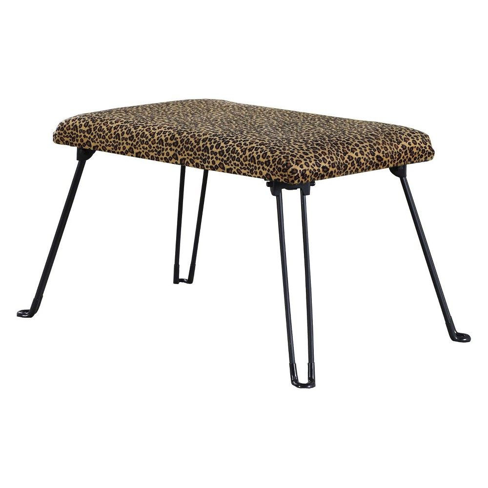 Image of Backless Seat With Foldable Legs - Brown - Ore International