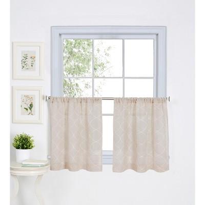Taylor Rod Pocket Kitchen Tier Window Curtain Set of 2 - Linen - Elrene Home Fashions