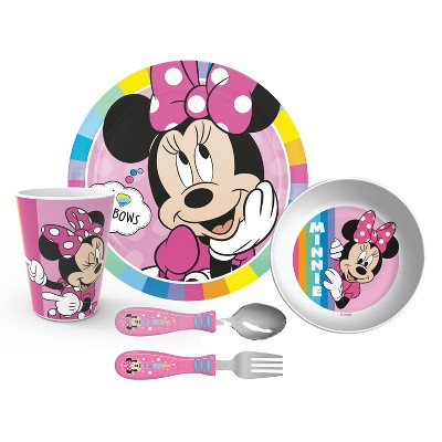 Zak Designs Kids 5-Piece Dinnerware Set Durable Melamine Plate Bowl Tumbler Stainless Steel Fork Spoon BPA-Free