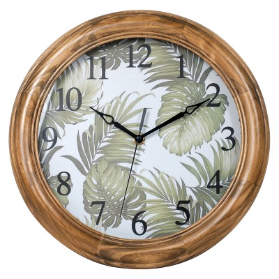 """12"""" Round Wall Clock with Botanical Leaves"""